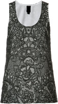 Vera Wang scoop neck tank top - women - Silk/Cotton/Nylon - 0
