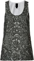 Vera Wang scoop neck tank top - women - Silk/Cotton/Nylon - 2