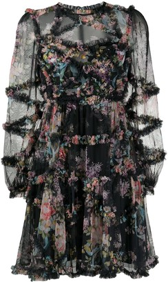 Needle & Thread Floral Ruffle Sheer Dress