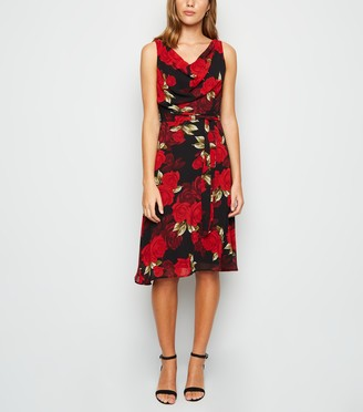 New Look Mela Rose Cowl Neck Belted Midi Dress