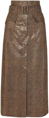 Nanushka Aarohi Belted Snake-effect Vegan Leather Midi Skirt