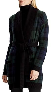 Ralph Lauren Ralph Plaid Shawl-Collar Wrap Cardigan