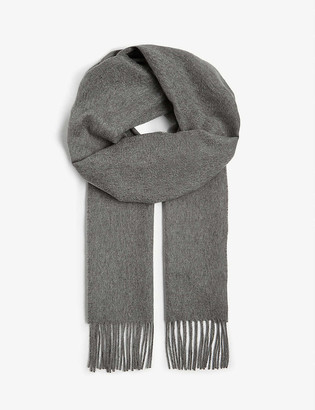 Johnstons Fringe-trim personalised cashmere scarf