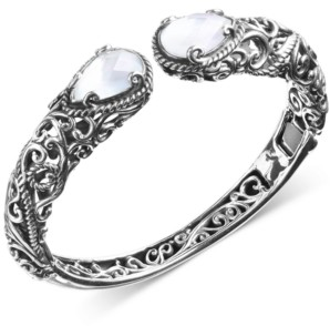 Mother of Pearl Carolyn Pollack Mother-of-Pearl Hinged Cuff Bracelet in Sterling Silver