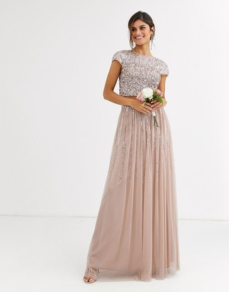 Maya Bridesmaid delicate sequin tulle skirt two-piece in taupe