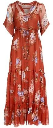 Johnny Was Drexl Floral Silk Maxi Dress