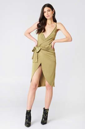 boohoo Strappy Knot Wrap Dress Green