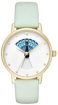 Kate Spade Women's Metro Peacock Leather Strap Watch, 34Mm