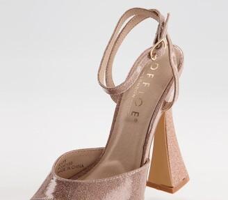 Office Hague Glitter Platform Heels Gold Glitter