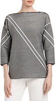 Lafayette 148 New York Bicolor Pintucked Jacquard Sweater