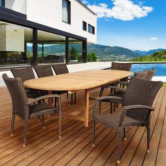 Trudeau Highland Dunes International Home Outdoor 9 Piece Teak Dining Set Highland Dunes