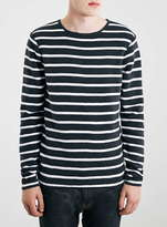 Topman Navy and White Stripe Crew Sweater