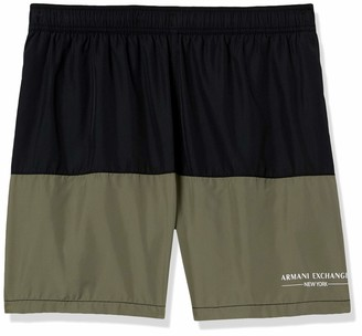 A|X Armani Exchange Men's New York Logo Colorblock Drawstring Swim Trunk