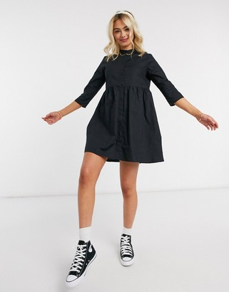 JDY ulle 3/4 sleeve skater shirt dress in black