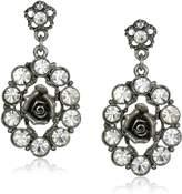 1928 Jewelry Silver-Tone Crystal Oval Flower Drop Earrings
