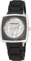 BCBGMAXAZRIA Women's BG8230 Elite Sport Silver-Tone Black Rubber Watch