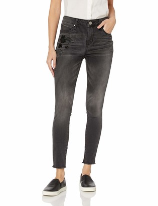 Seven7 Women's HIGH Rise Skinny W/Sequin Appliques and FRAY Hem
