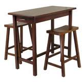 Winsome Wood Kitchen Island Table with 2 Drawers and Saddle Stools, 3-Piece