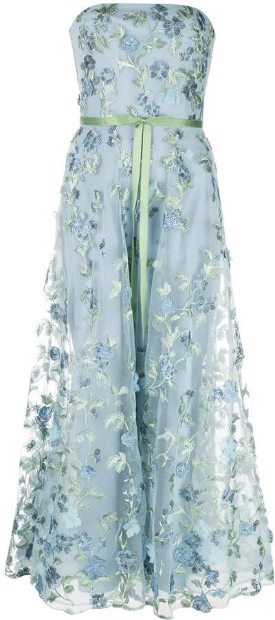 Marchesa floral embroidered strapless gown