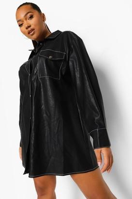 boohoo Plus Faux Leather Oversized Shirt Dress