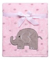 Baby Starters Baby Girl Soft Pink and Gray Elephant Blanket