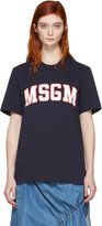 MSGM Navy College Logo T-shirt
