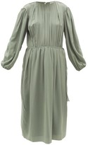 Lemaire Pleated Silk-georgette Midi Dress - Womens - Light Green