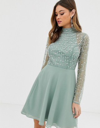 ASOS DESIGN mini dress with linear embellished bodice and wrap skirt