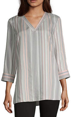 Liz Claiborne Womens V Neck 3/4 Sleeve Tunic Top