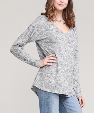 Cool Melon Women's Tunics Gray - Gray Choker-Cutout V-Neck Tunic - Women