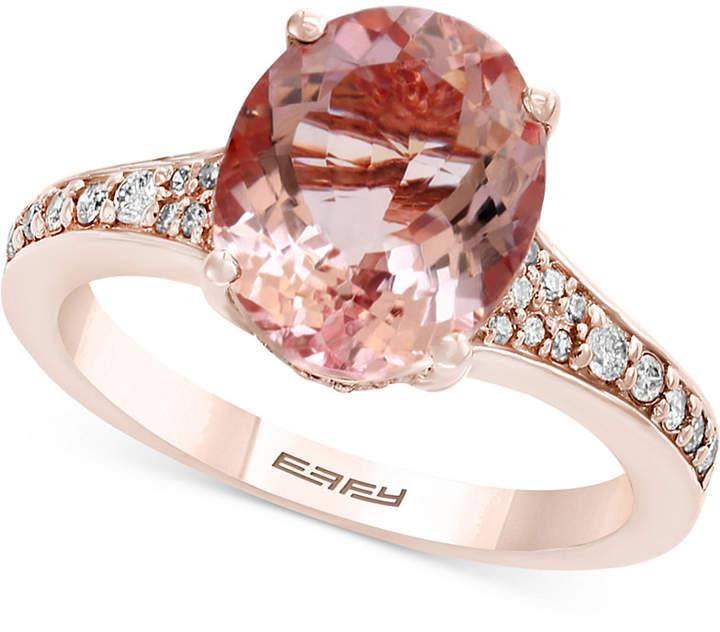 Effy Gemstone Bridal by Morganite (3-1/5 ct. t.w.) & Diamond (1/4 ct. t.w.) Ring in 18k Rose Gold