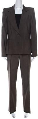 Barbara Bui Brown Wool Blend Zip Detail Pant Suit L