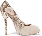 RED Valentino Bow-embellished glittered suede pumps