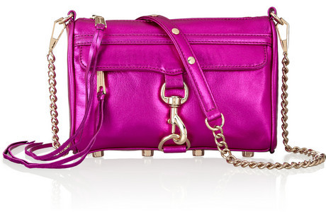 Rebecca Minkoff Mini Mac metallic magenta leather shoulder bag