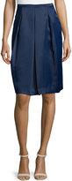 Halston Box-Pleated Knee-Length Skirt, Navy