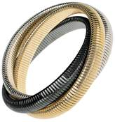 Janis Savitt High Polished Gold, Rhodium and Gunmetal Triple Cobra Bracelet