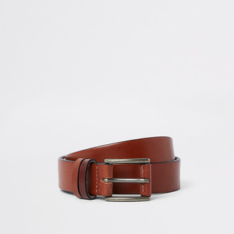 River Island Brown leather buckle belt