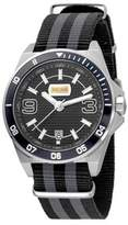 Just Cavalli Mens Black/grey Nylon Strap With Black Dial.