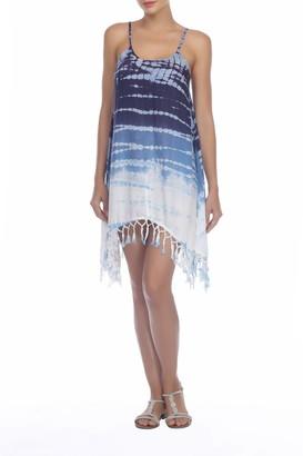 BOHO ME Tie-Dye Tassel Shift Dress