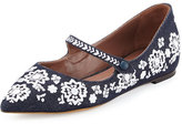Tabitha Simmons Hermione Fest Embroidered Flat, Denim/White
