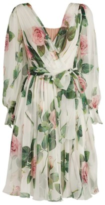 Dolce & Gabbana Floral Silk Wrap Dress
