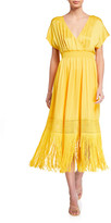 Trina Turk Pastel Fringe-Hem Midi Surplice Dress