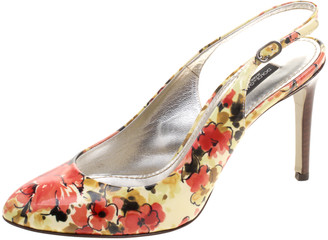 Dolce & Gabbana Floral Print Patent Leather Slingback Sandals Size 36