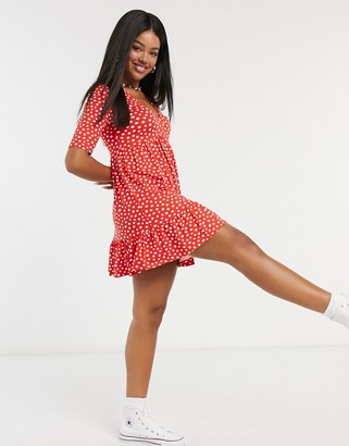 Miss Selfridge v-neck mini dress in red spot