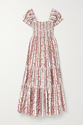 Tory Burch Smocked Floral-print Cotton-blend Midi Dress - Orange