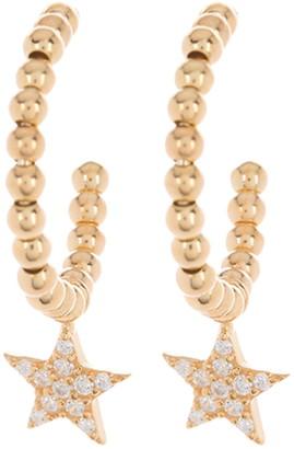 Argentovivo 18K Gold Vermeil Ball Hoop & CZ Pave Star Drop Earrings