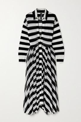 Norma Kamali Striped Stretch-tulle Maxi Dress