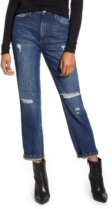 Lee High Waist Ripped Straight Leg Ankle Jeans
