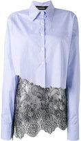 Filles a papa striped lace hem shirt - women - Cotton/Polyamide - 2