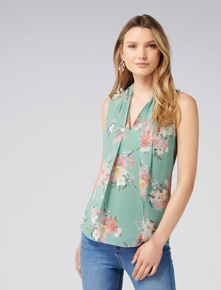 Forever New Tina Tie Neck Tank - Jade Blooms Print - 18
